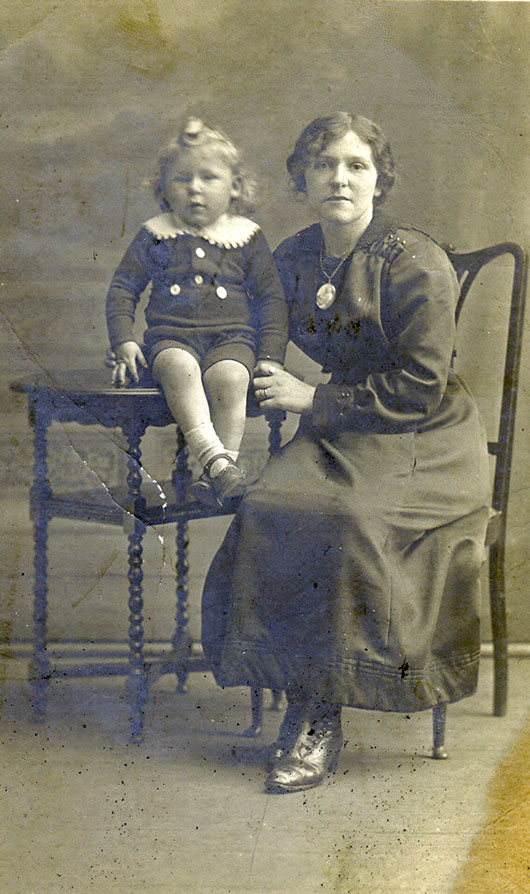 William Sharp, aged 2 and his mother, Ethel, c. 1917