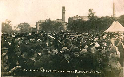Recruitment meeting, Saltaire Park, 3 October 1914