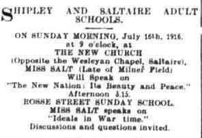 Saltaire War Diary July 1916