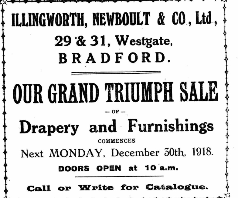 OUR GRAND TRIUMPH SALE Drapery and Furnishings COMMENCES Next MONDAY d7cf217f0f5a