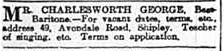George Charlesworth advert