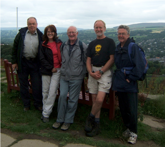 John Myles, Chris Grogan, David King, Dave Shaw and Roger Clarke on climb out of Ilkley