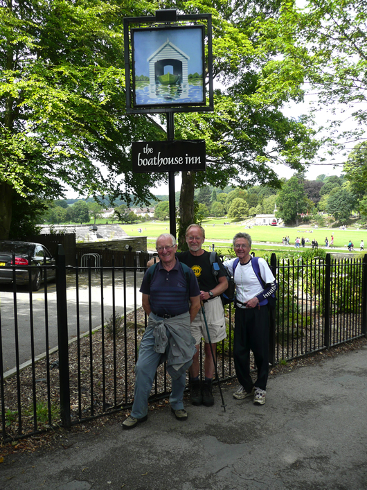 Dave King, Dave Shaw and Roger Clarke outside The Boathouse, Saltaire