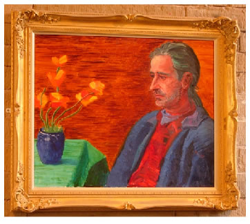 David Hockney's painting of Jonathan Silver - to be found on view at Salts Mill in Saltaire