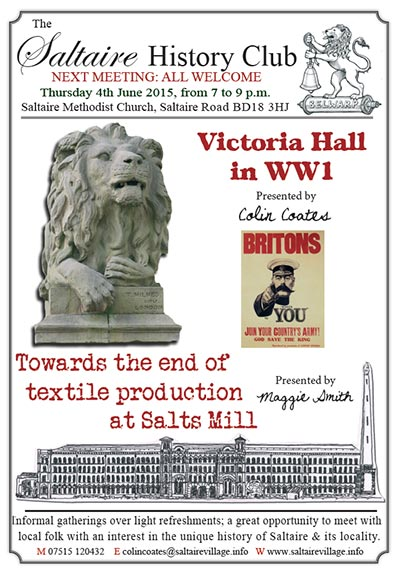 Saltaire History Club, 4 Sept 2014